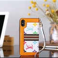 Classic LV Big Flower Leather Covers Metal Holster Cases For iPhone XR - White