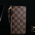 Classic LV Lattice Plaid Flip Leather Covers Folder Holster Cases For iPhone XR - Brown