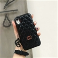 Classic Lattices Gucci Leather Hanging Rope Covers Metal Cases For iPhone XR - Black