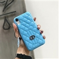 Classic Lattices Gucci Leather Hanging Rope Covers Metal Cases For iPhone XR - Blue