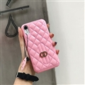 Classic Lattices Gucci Leather Hanging Rope Covers Metal Cases For iPhone XR - Pink