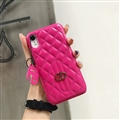 Classic Lattices Gucci Leather Hanging Rope Covers Metal Cases For iPhone XR - Rose