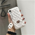 Classic Lattices Gucci Leather Hanging Rope Covers Metal Cases For iPhone XR - White