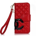 Classic Sheepskin Chanel folder leather Case Book Flip Holster Cover for iPhone XR - Red