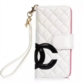 Classic Sheepskin Chanel folder leather Case Book Flip Holster Cover for iPhone XR - White