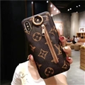 Classic Zipper LV Leather Back Covers Holster Cases For iPhone XR - Brown