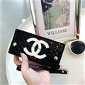 Fashion Chanel Button Wallet Cases Leather + Silicone Covers For iPhone XR - Black