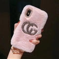 Fashion Gucci Female Keep Warm Wool Cases Plush Back Covers for iPhone XR - Pink