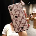 High Quality Shell Gucci Flower Leather Back Covers Button Cases For iPhone XR - Brown