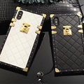 LV Lattice Faux Leather Rivet Lanyards Cases Shell For iPhone XR Silicone Soft Covers - Black