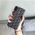 Personalized Goyard Leather Pattern Cases Hard Back Covers for iPhone XR - Black