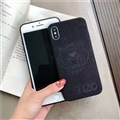 Retro Skin Casing Kenzo Leather Back Covers Holster Cases For iPhone XR - Black