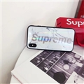 Unique LV Marble Aurora Laser Supreme Glass Covers Protective Back Cases For iPhone XR - White