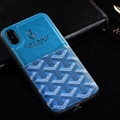 Unique Shell Goyard Genuine Leather Back Covers Holster Cases For iPhone XR - Blue