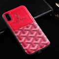 Unique Shell Goyard Genuine Leather Back Covers Holster Cases For iPhone XR - Rose