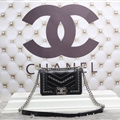 Chanel Classic Elegant Shoulder Genuine Leather Ladies Hasp Bags Dot Silver Chains - Black