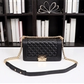Chanel Classic Elegant Shoulder Genuine Leather Ladies Hasp Bags Golden Chains - Black
