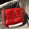 Classic European and American YSL Top-Handle Genuine Leather Chains Womens Casual Bags Ladies Hasp - Red