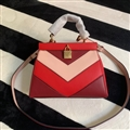 Classic MK Lock Genuine Leather Bags Womens Shoulder Patchwork Fashion Ladies Hasp Handbag - Red