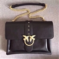 Classic Pinko Genuine Leather Chains Womens shoulder Bags Ladies Hasp&Zipper - Black