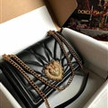 D&G Classic Elegant Shoulder Genuine Leather Ladies Hasp Bags Striped Chains - Black