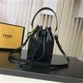 Fendi Beautiful Classic Casual Fashion Lady Cowhide Womens Buckets Crossbody Top-Handle Bags - Black