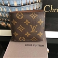 Flower Classic Casual LV Genuine Leather Mens Cover Business Wallets - Brown
