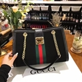 Gucci Classic Casual Fashion Party Lady Genuine Leather Plush Fur Chains Hasp Top-Handle Bags - Black