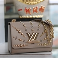 High Quality Classic LV Beading Top-Handle Genuine Leather Bags Womens Chains Fashion Hasp Bags - Beige