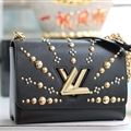 High Quality Classic LV Beading Top-Handle Genuine Leather Bags Womens Chains Fashion Hasp Bags - Black