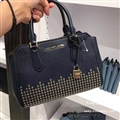 High Quality Classic MK Beading Top-Handle Genuine Leather Bags Womens Lock Fashion Zipper Bags - Blue