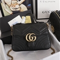 High Quality Gucci Casual Genuine Leather Womens Chains Fashion Hasp Top-Handle Bags - Black