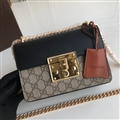 High Quality Gucci Crossbody Genuine Leather Womens Chains Fashion Hasp Patchwork Bags - Black