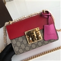 High Quality Gucci Crossbody Genuine Leather Womens Chains Fashion Hasp Patchwork Bags - Red
