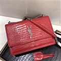 High Quality YSL Crossbody Genuine Leather Womens Chains Fashion Hasp Criss-Cross Bags - Red