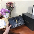 High Quality YSL Crossbody Genuine Leather Womens Chains Fashion Zipper & Hasp Criss-Cross Bags - Black