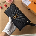 LV Criss-Cross Genuine Leather Bags Womens Fashion Ladies Striped Hasp Bags Wallets - Black