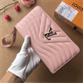 LV Criss-Cross Genuine Leather Bags Womens Fashion Ladies Striped Zipper Bags Wallets - Pink