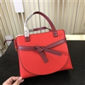 Loewe Classic Bow Normcore Genuine Leather Zipper Large Top-Handle Lady Bags - Red