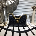 Striped Chanel Shoulder Genuine Leather Chains Ladies Zipper Hasp Normcore Top-Handle Bags - Black