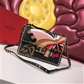 Valentino Classic Fashion Rivet Butterfly Shoulder Genuine Leather Ladies Hasp Bags  - Black