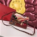Valentino Classic Fashion Rivet Butterfly Shoulder Genuine Leather Ladies Hasp Bags  - Red