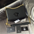 Beautiful Versace Shoulder Genuine Leather Chains Ladies Zipper Hasp Normcore Bags - Black