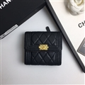Chanel CC Criss-Cross Genuine Leather Bags Womens Fashion Ladies Striped Hasp Bags Wallets - Black