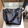 Chanel Classic CC Elegant Shoulder Genuine Leather Ladies Open Chains Bags - Black