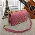 Chanel Classic Elegant Shoulder Genuine Leather Ladies Hasp Bags Golden Chains - Pink