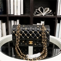 Chanel Classic Elegant Shoulder Genuine Leather Ladies Hasp Zipper Bags Golden Chains L - Black