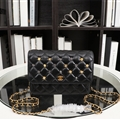 Chanel Classic Elegant Shoulder Genuine Leather Ladies Hasp Zipper Bags Golden Chains M 33814A- Black