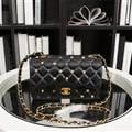 Chanel Classic Elegant Shoulder Genuine Leather Ladies Hasp Zipper Bags Golden Chains S - Black