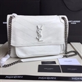 Classic European and American YSL Top-Handle Genuine Leather Chains Womens Casual Bags Ladies Hasp - White